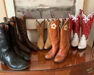 Men's size 11 and women's (sizes 8 - 9) boots, including Lucchese
