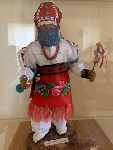 Los Matachina figure, Jemez, in plexiglass case