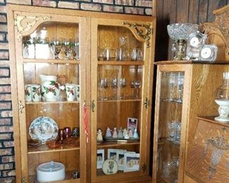 Beautiful large tall 2-door Oak bookcase with bottom drawer and brass hardware (great wavy glass!)