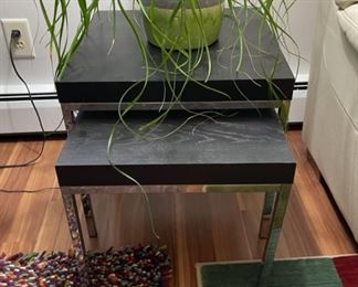 """HALF OFF!  $40.00 NOW, WAS $80.00.......................Klubbo Black and Chrome Nesting Tables 19 3/4"""" x 19 3/4"""", 18 3/4"""" tall (R014)"""