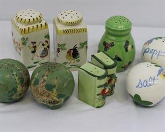 FOUR SETS Vintage Porcelain Salt & Peppers PLUS Sugar Shaker