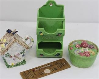 Vintage Porcelain Grouping: Teapot, matchstick holder, sugarbowl, wooden advertising thermometer