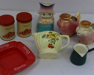 Vintage grouping: salt & peppers, creamers, butter melter and ashtray
