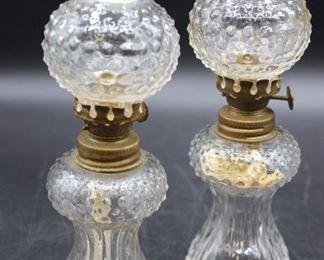 Set of two vintage Hobnail miniature oil lamps