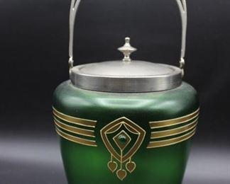 Vintage Art Deco Green Glass Ice Bucket