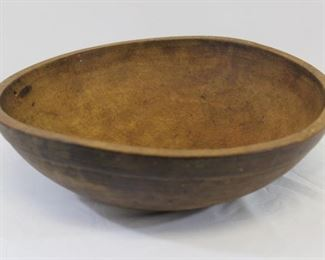 Primitive round wooden dough bowl