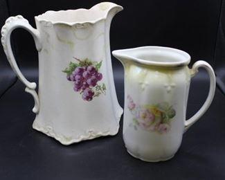 Two Antique Transferware Porcelain Pitchers