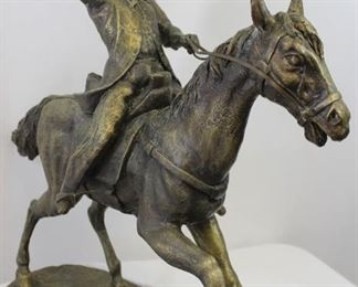 LARGE Western Cast Bronze Cowboy Sculpture