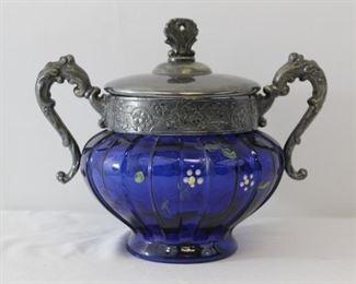 Hand Painted Blue Glass Tea/Coffee Serve ware