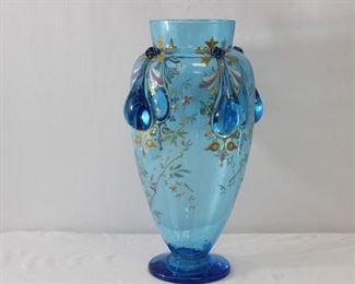 Hand Blown Floral Blue Glass Vase