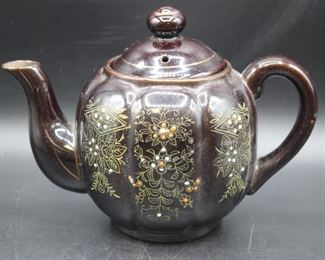 1940s Redware Moriage Teapot