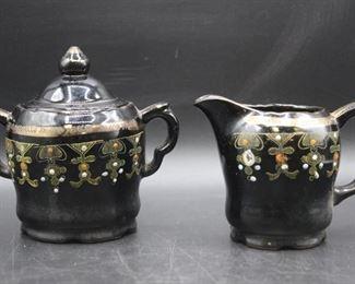 Vintage Ceramic Creamer Pitcher & Sugar Bowl Set