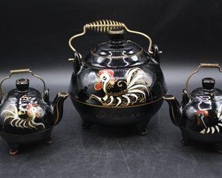 Vintage Japanese Rooster Salt Pepper Shakers & Grease Pot