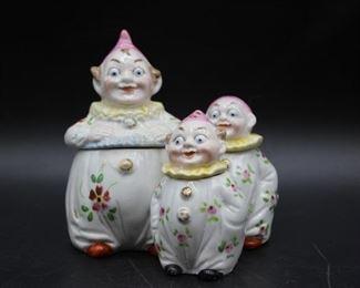 Vintage German Porcelain Clown Cruet Set