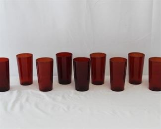 Red Glass Juice Glasses