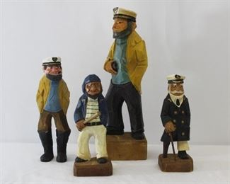 Carved Wood Fishermen Figurines