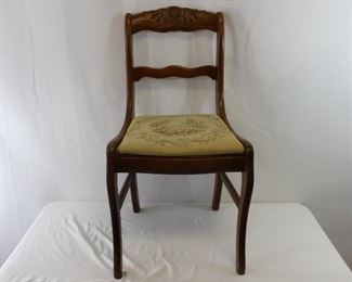 Antique Mid Century Carved Back Upholstered Chair