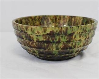Vintage Art Deco Ribbed Spongeware Bennington Bowl