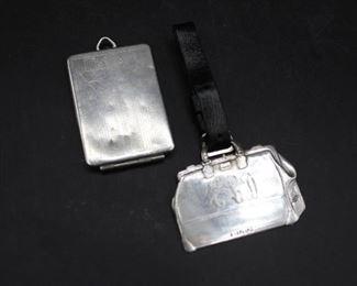 Vintage sterling suitcase I.D. label & vintage tiny sterling photo case