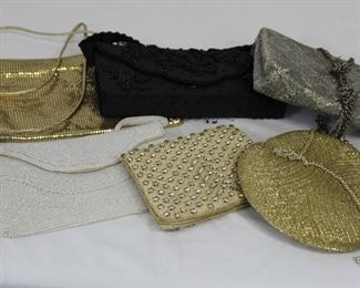 Assortment of 6 vintage beaded and rhinestone clutch evening bags