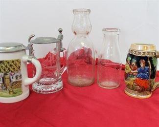 Lot of 5 vintage mugs 'n milk bottles