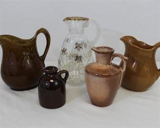 Assortment 5 vintage pitchers