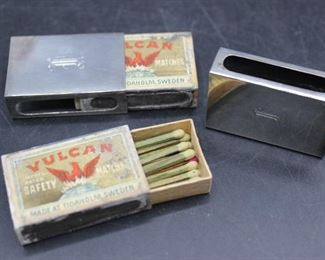 PAIR of vintage sterling silver matchstick boxes