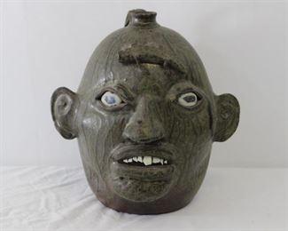 Matthew Hewell Face Jug w/ Lizard