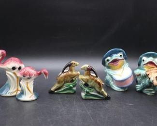 Vintage Flamingo, Ram, and Frog Salt & Pepper Shakers