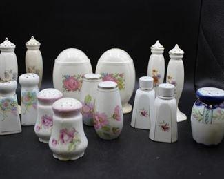 Vintage Floral Porcelain Salt & Pepper Shakers