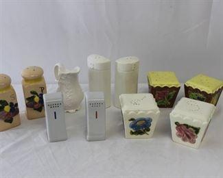 Vintage Floral Porcelain & Ceramic Salt & Pepper Shakers