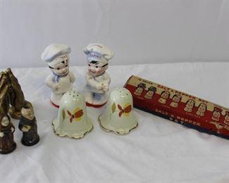 Vintage Tappan, family set, monk prayer hands salt & pepper shakers