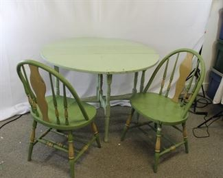 Antique Farmhouse Round Extension Table w/ Chairs