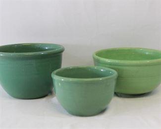 Green Stoneware Mixing/Serving Bowls
