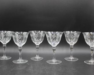 Small Etched Wine Glasses