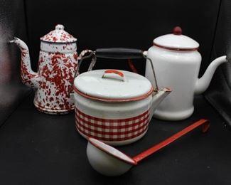 Red & White Enamelware Kettles & Ladle