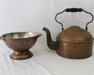 Vintage Copper Colander & Kettle