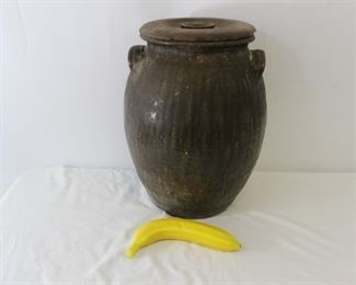 Large Brown Glaze Round Ceramic Vase W/ Lid