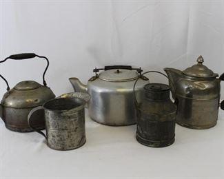 Tin Kettles, Measuring Cup & Milk Jug