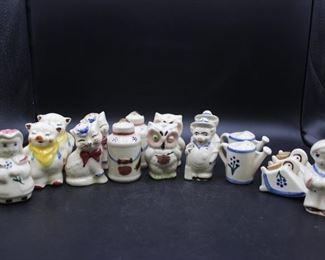 assorted Vintage Shawnee China Underglaze Hand Decorated ceramic salt & pepper shakers 8 sets
