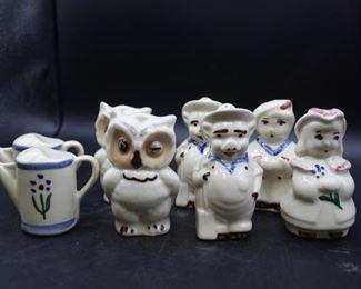 assorted Vintage Shawnee China Underglaze Hand Decorated ceramic salt & pepper shakers 4 sets