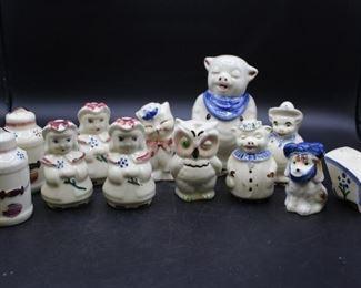 assorted Vintage Shawnee China Underglaze Hand Decorated ceramic mismatch salt & pepper shakers. 12 pcs.