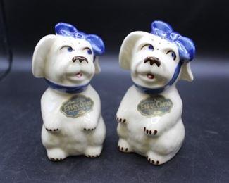 Vintage Hand Painted Essex China Under The Glaze ceramic Doggy salt & pepper shakers. 1 set