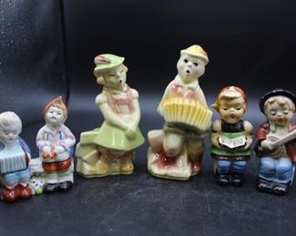 Vintage European Children Ceramic Salt & Pepper Shakers. 3 sets