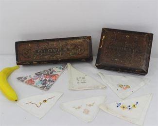Vintage German wooden Glove & Handkerchiefs box with assorted embroidered handkerchiefs