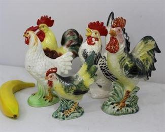 Vintage Tilso & Japanese Ceramic Roosters & Hens