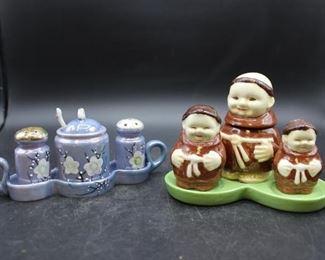 Vintage ceramic Monk & floral Salt & Pepper shaker sets