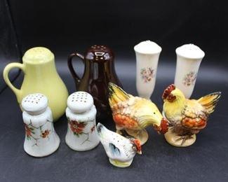 Assorted Vintage Ceramic salt & Pepper Shakers Fiesta ware, Lefton Chickens & florals