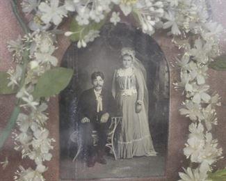 Antique Victorian Wedding Photo & Veil Shadowbox