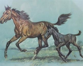 1965 Nancy Elbert Framed Horse & Mare pastel art print